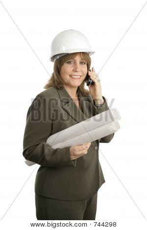 Happy Female Architect on Phone