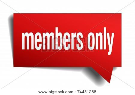 Members Only Red 3D Realistic Paper Speech Bubble