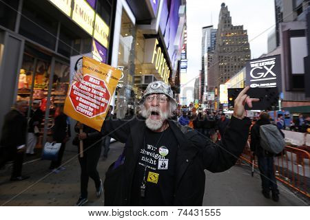 Marcher chanting in Times Square