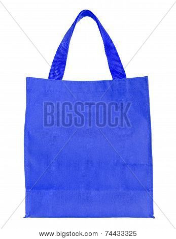 Blue Canvas Shopping Bag Isolated On White Background With Clipping Path