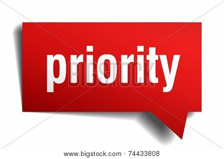 Priority Red 3D Realistic Paper Speech Bubble