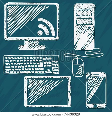 Digital devices hand drawn