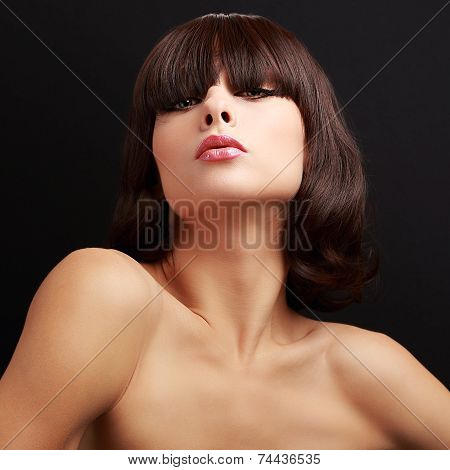 Sexy Short Hair Alluring Model Posing. Closeup On Black Background