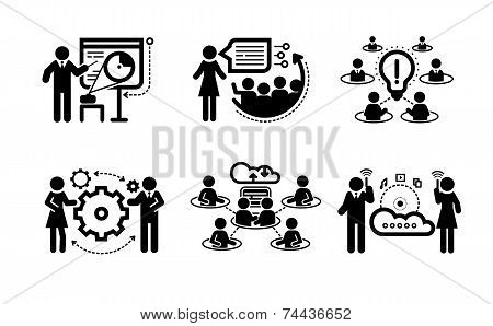 Business presentation teamwork concept icons