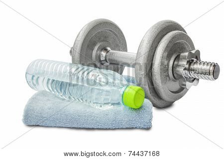 Dumbell With Water Bottle And Towel