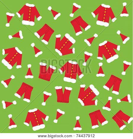 Santa claus clothes a green background.