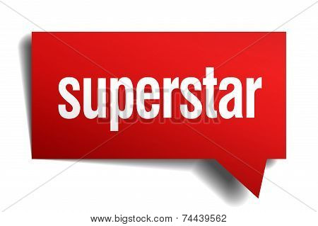 Superstar Red 3D Realistic Paper Speech Bubble