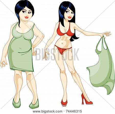 Thick Girl In A Dress And A Thin Girl In A Bathing Suit.eps