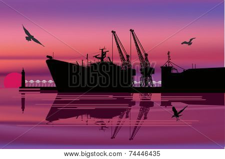 industrial illustration with ship in port
