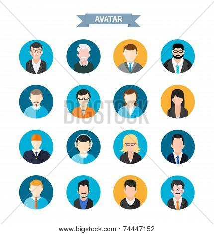 Set of stylish avatars man and woman icons