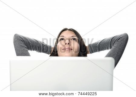 Pretty Woman Relaxing With Computer In Front