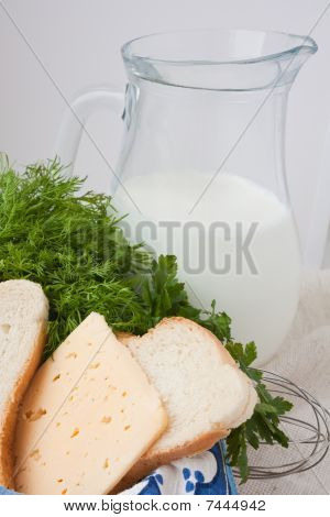 Milk, Cheese, Bread  With A Jug Of Milk