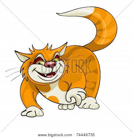 Cartoon Yellow Cat Walks.eps