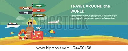 Icons set of traveling and planning vacation