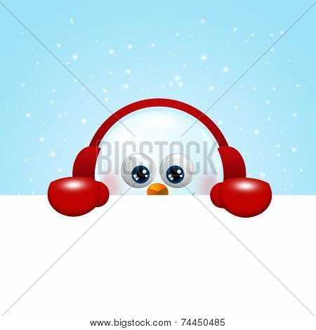 Snowman With Earmuffs Holding Christmas Blank