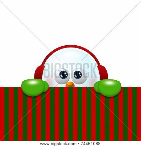 Snowman With Earmuffs Looking Up And Holding Christmas Blank