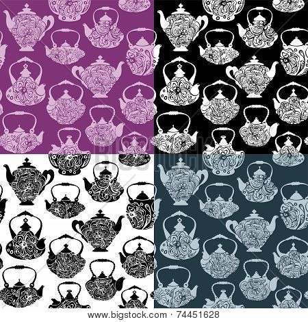 Set Of Seamless Pattern With Retro Design China Tea Pots  - Vintage Background. Black And White Silh
