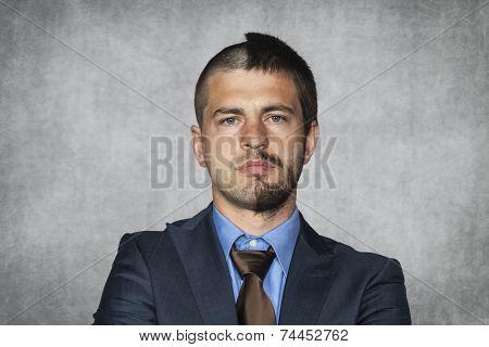 Businessman With A Haircut For Half A Head