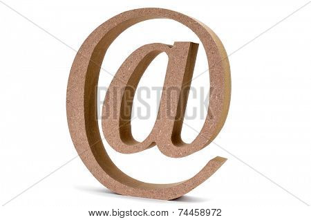 an engineered wood at-sign on a white background