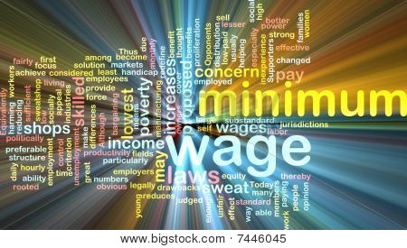 Minimum Wage Word Cloud Glowing