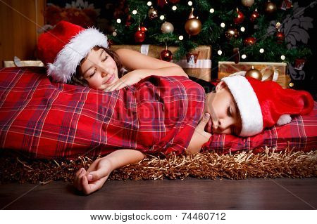 Cute Children Waiting For Christmas Presents
