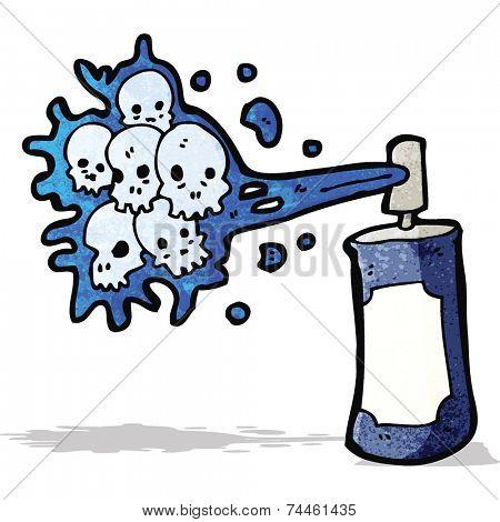 cartoon graffiti skull spray can