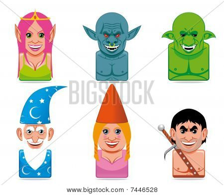 Cartoon fantasy characters icons