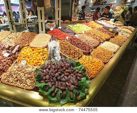 Dried Fruit And Nuts In The Barcelona La Boqueria Market