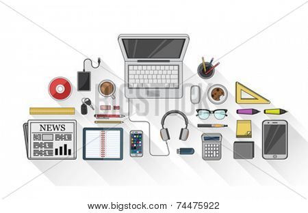 Digitally generated Overhead of desk with stationery and technology