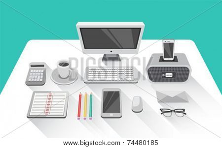 Digitally generated Desk with computer in office room