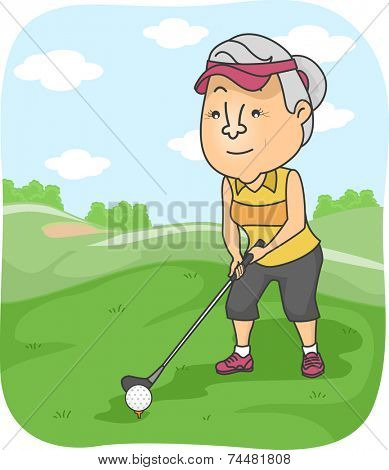 Illustration Featuring an Elderly Female Playing Golf