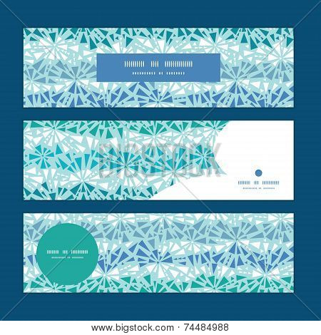 Vector abstract ice chrystals texture horizontal banners set pattern background
