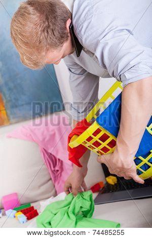 Man Doing Many Chores