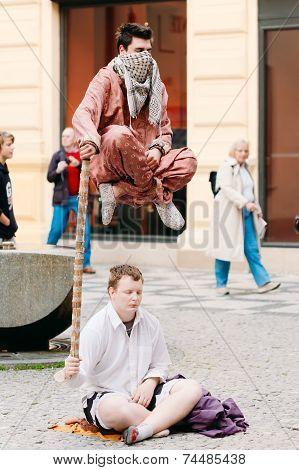Street Performers, Levitation Man In Center Of Prague.