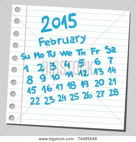 Calendar 2015 february (sketch style)