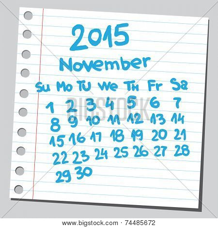 Calendar 2015 november (sketch style)