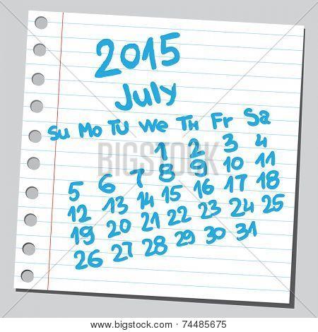 Calendar 2015 july (sketch style)