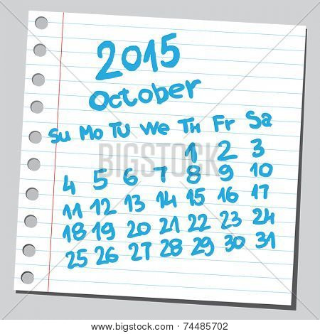 Calendar 2015 october (sketch style)
