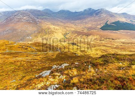 View Of Connemara National Park Mountains