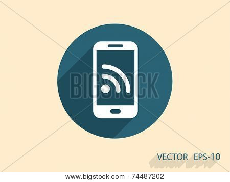 RSS mobile icon, vector illustration