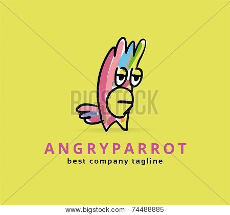 Abstract vector parrot monster logo icon concept. Logotype template for branding and corporate desig