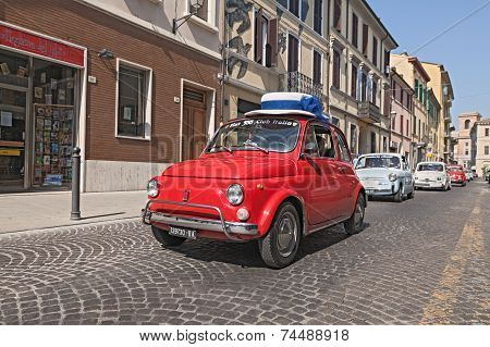 Vintage Fiat 500 With A Funny Hat