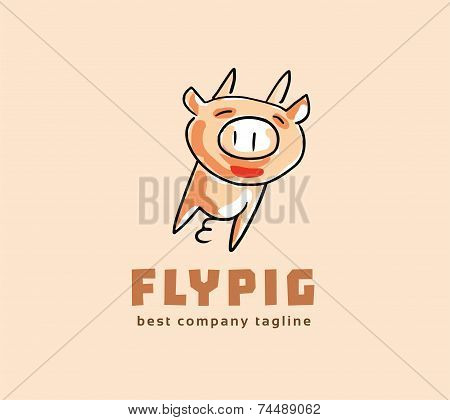Abstract vector pig monster logo icon concept. Logotype template for branding and corporate design