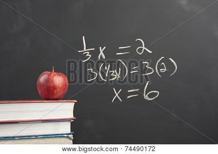 Red Apple And Algebra Equation.