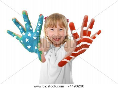 Happy Sweet And Cute Small Blonde Hair Girl Showing Hands Painted With United States Flag