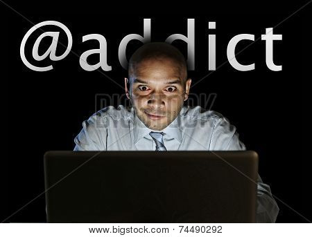 Media Addict Man Late Night Sitting At Computer On Internet Web Social Network Addiction