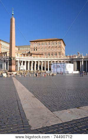 Tourists on St. Peter's Square in Vatican City.