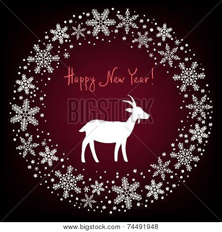 Winter Christmas Wreath Background With Snowflakes And Goat