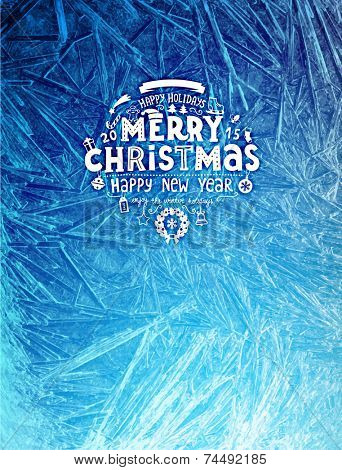 Vector Patterns Made by the Frost. Blue Winter Background for Christmas Designs. Xmas Typographic Label for Holiday Greeting Cards, Party Banners and Posters. Icy Abstract Background.