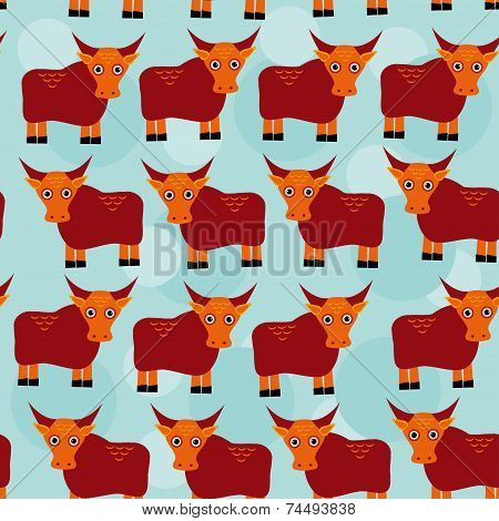 Asian Yak Bull Seamless Pattern With Funny Cute Animal On A Blue Background